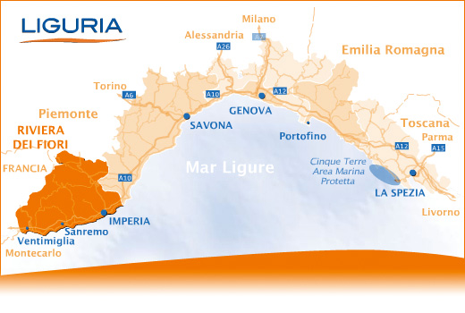 Map of Riviera di Ponente Liguria