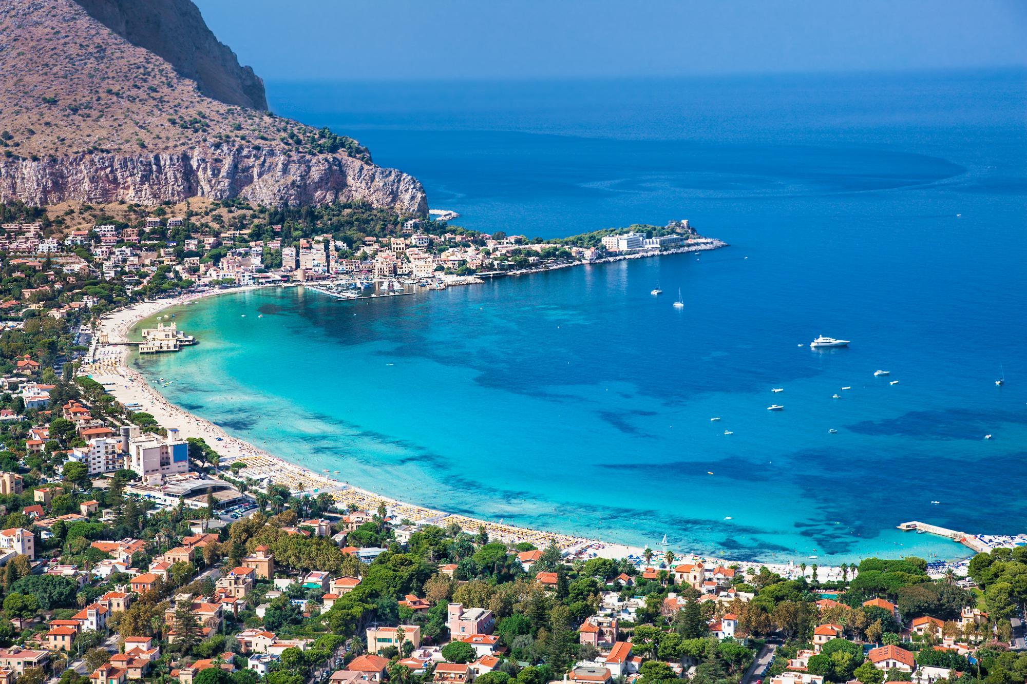 Mondello beach in Sicily