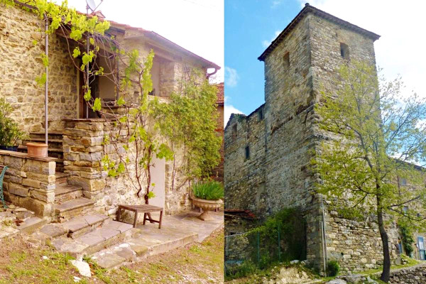 Ancient tower and restored cottage in Tuscany